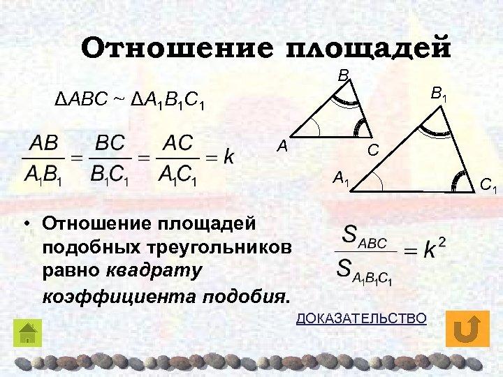 Отношение площадей Β Β 1 ΔAΒC ~ ΔA 1Β 1 C 1 A C