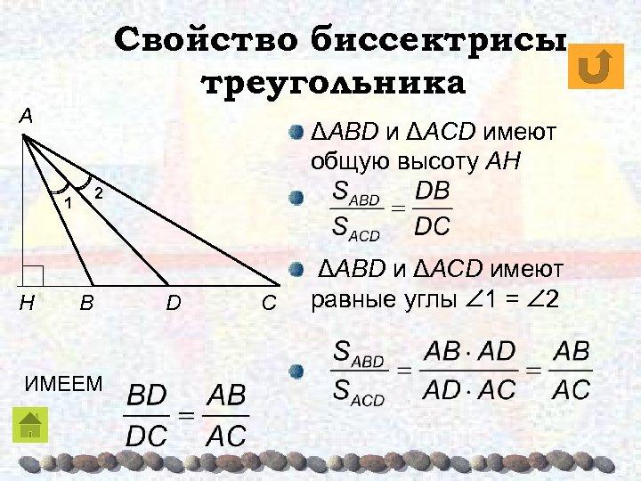 Свойство биссектрисы треугольника A ΔABD и ΔACD имеют общую высоту AH 2 1 H