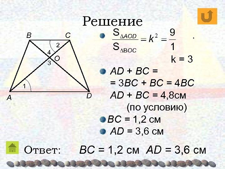 Решение B . C 2 4 3 k=3 O 1 D A Ответ: AD