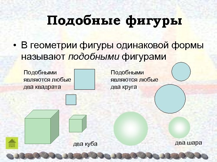 Подобные фигуры • В геометрии фигуры одинаковой формы называют подобными фигурами Подобными являются любые