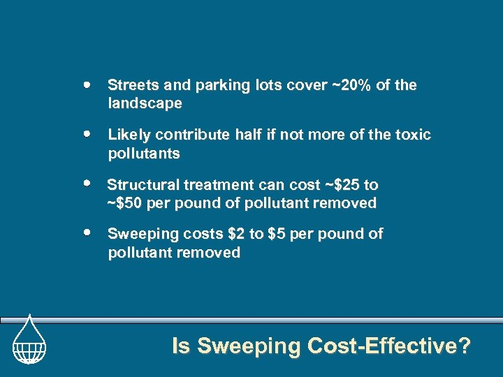 Streets and parking lots cover ~20% of the landscape Likely contribute half if not