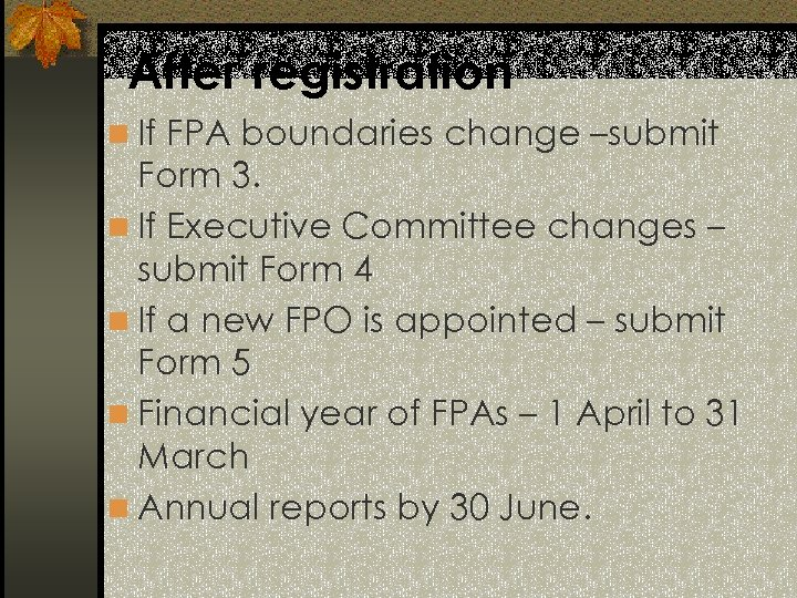 After registration n If FPA boundaries change –submit Form 3. n If Executive Committee