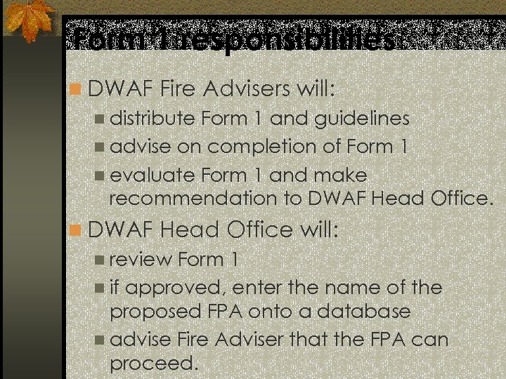Form 1 responsibilities n DWAF Fire Advisers will: n distribute Form 1 and guidelines