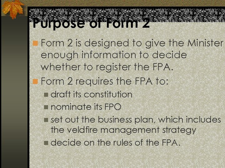 Purpose of Form 2 n Form 2 is designed to give the Minister enough