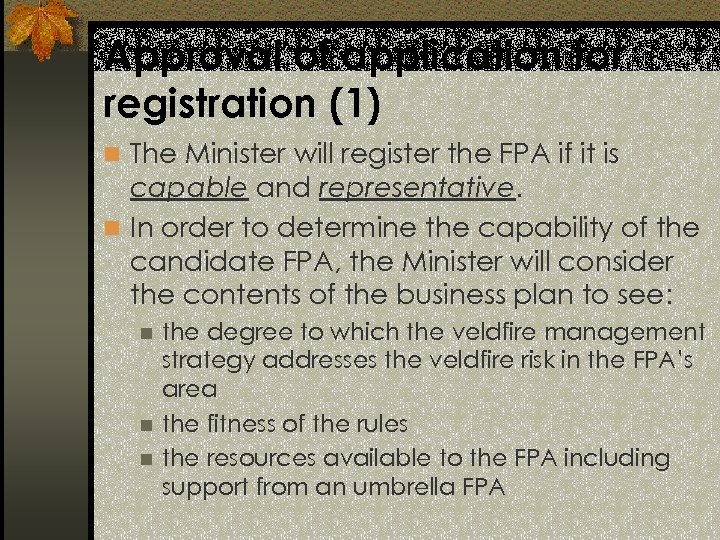 Approval of application for registration (1) n The Minister will register the FPA if