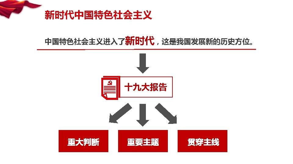 新时代中国特色社会主义进入了新时代,这是我国发展新的历史方位。 十九大报告