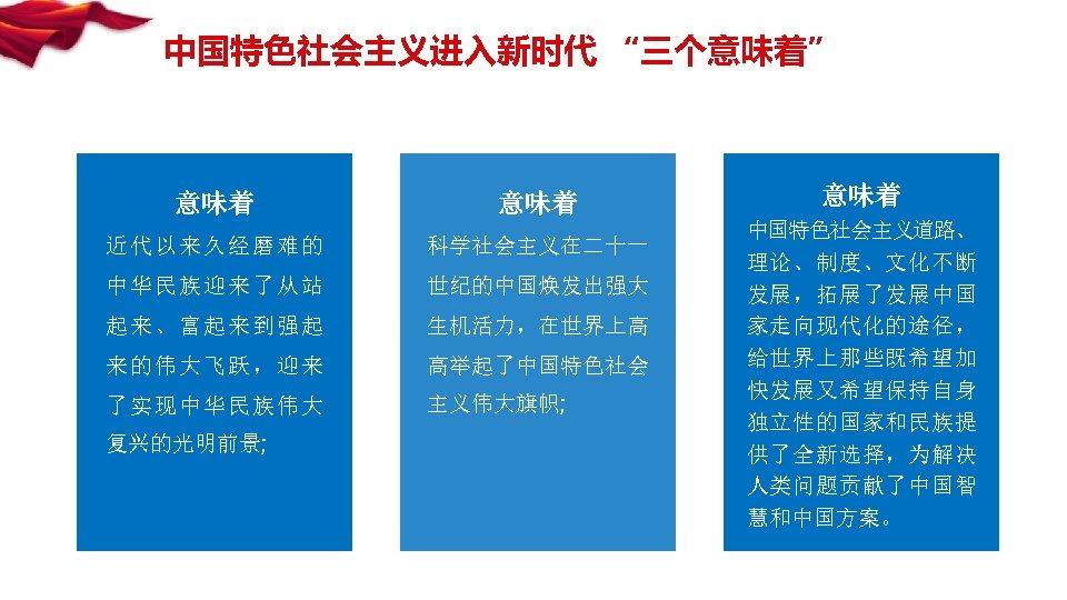 """中国特色社会主义进入新时代 """"三个意味着"""" 意味着 近代以来久经磨难的 科学社会主义在二十一 中华民族迎来了从站 世纪的中国焕发出强大 起来、富起来到强起 生机活力,在世界上高 来的伟大飞跃,迎来 高举起了中国特色社会 了实现中华民族伟大 主义伟大旗帜; 复兴的光明前景;"""