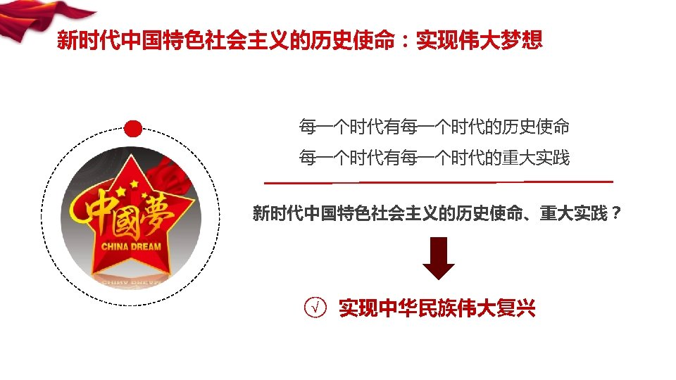 新时代中国特色社会主义的历史使命:实现伟大梦想 每一个时代有每一个时代的历史使命 每一个时代有每一个时代的重大实践 新时代中国特色社会主义的历史使命、重大实践? √ 实现中华民族伟大复兴