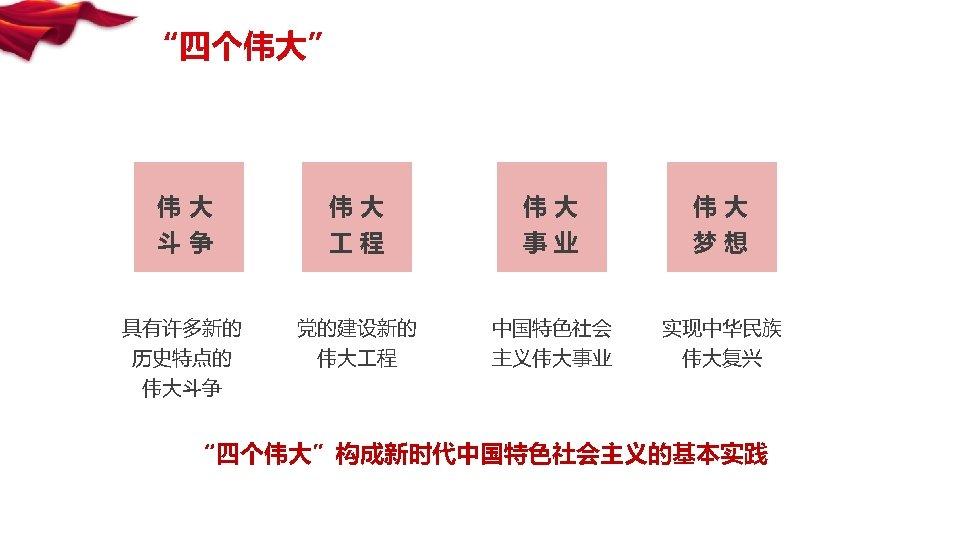 """""""四个伟大"""" 伟大 伟大 斗争 程 事业 梦想 具有许多新的 党的建设新的 中国特色社会 实现中华民族 历史特点的 伟大斗争 伟大"""