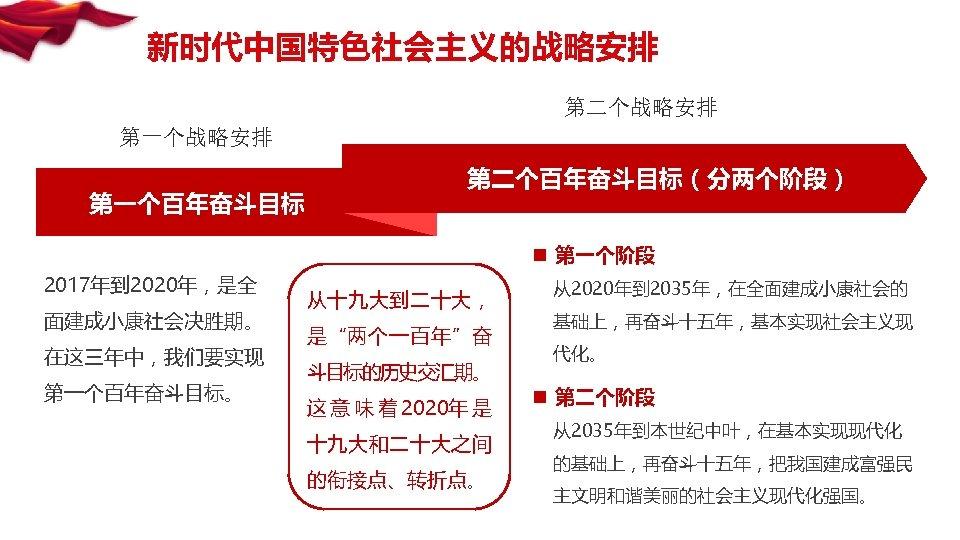 """新时代中国特色社会主义的战略安排 第二个战略安排 第一个百年奋斗目标 第二个百年奋斗目标(分两个阶段) n 第一个阶段 2017年到 2020年,是全 面建成小康社会决胜期。 在这三年中,我们要实现 第一个百年奋斗目标。 从十九大到二十大, 是""""两个一百年""""奋 斗目标的历史交汇期。"""
