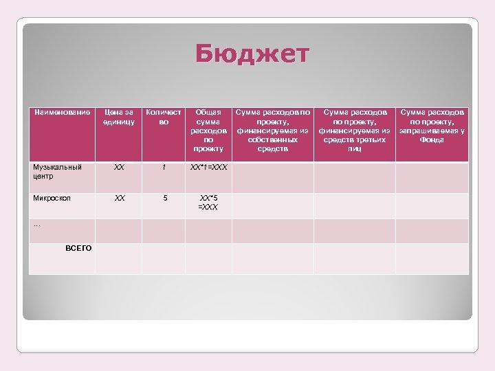 Бюджет Наименование Цена за единицу Количест во Общая сумма расходов по проекту Сумма расходов