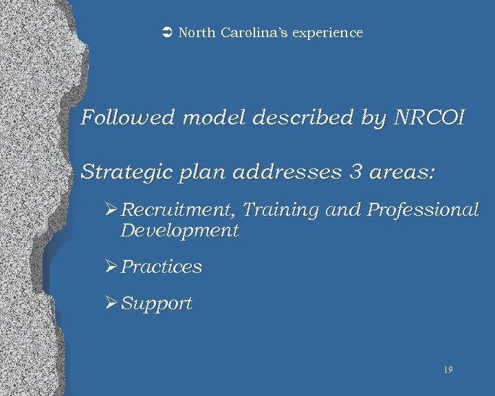 Ü North Carolina's experience Followed model described by NRCOI Strategic plan addresses 3 areas: