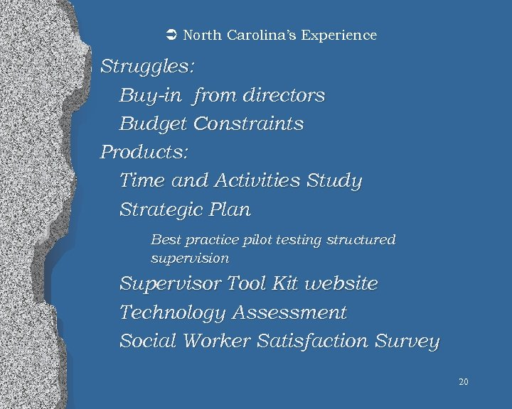 Ü North Carolina's Experience Struggles: Buy-in from directors Budget Constraints Products: Time and Activities