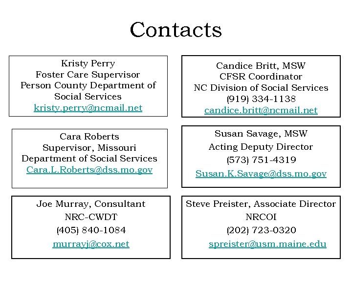 Contacts Kristy Perry Foster Care Supervisor Person County Department of Social Services kristy. perry@ncmail.