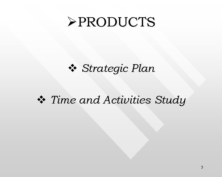 ØPRODUCTS v Strategic Plan v Time and Activities Study 5