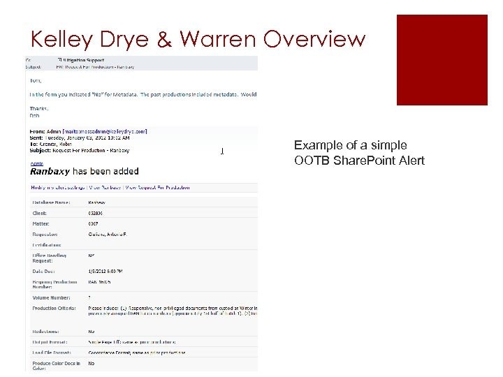 Kelley Drye & Warren Overview Example of a simple OOTB Share. Point Alert