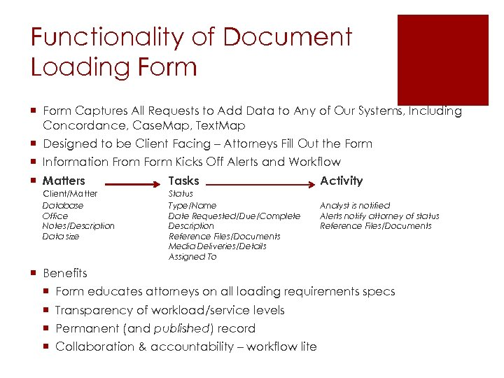 Functionality of Document Loading Form ¡ Form Captures All Requests to Add Data to