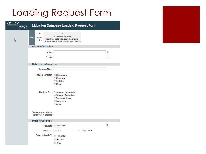 Loading Request Form