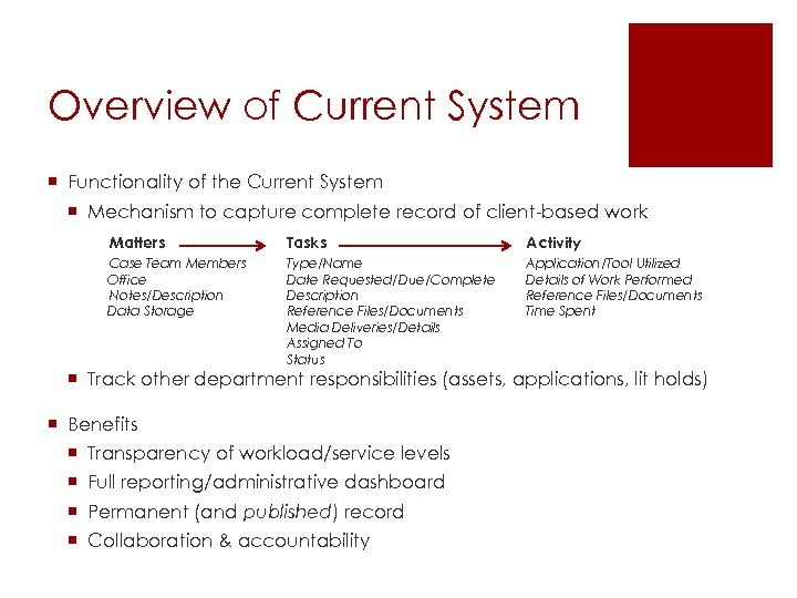Overview of Current System ¡ Functionality of the Current System ¡ Mechanism to capture
