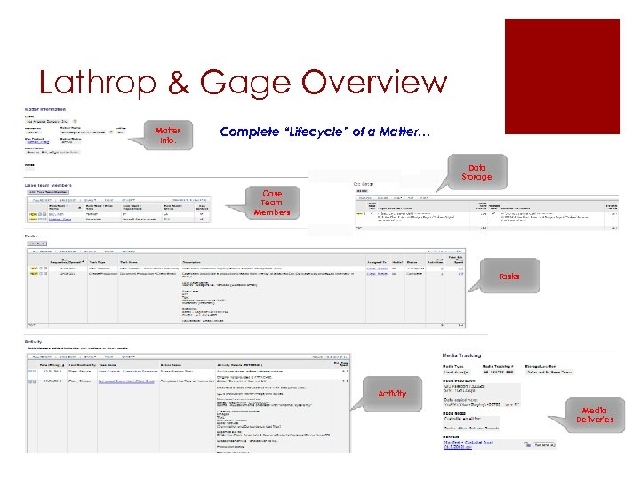 """Lathrop & Gage Overview Matter Info. Complete """"Lifecycle"""" of a Matter… Data Storage Case"""