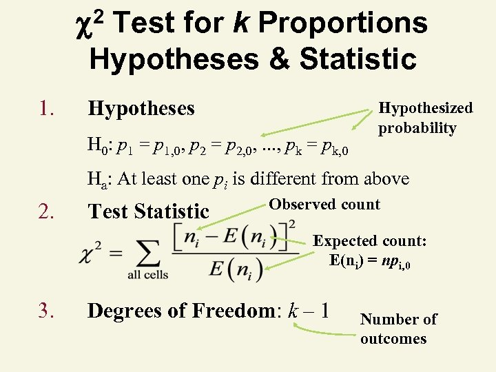2 Test for k Proportions Hypotheses & Statistic 1. Hypotheses H 0: p