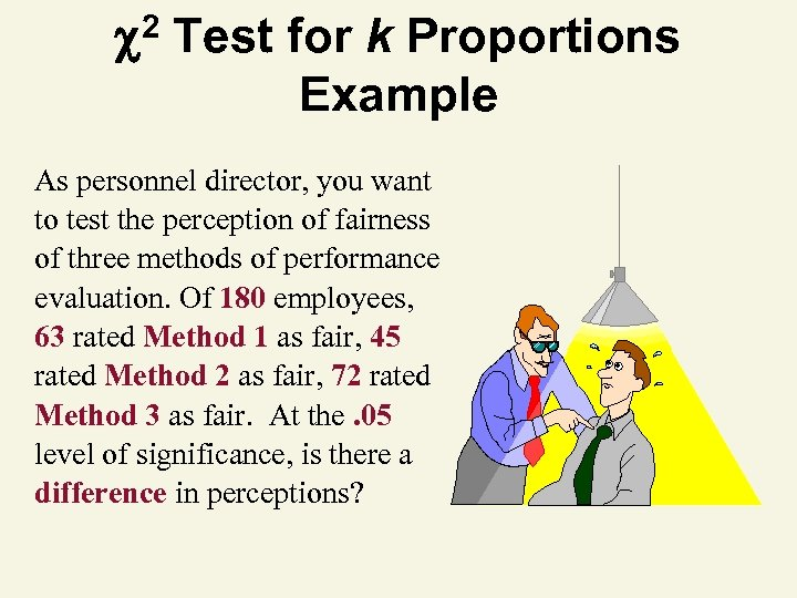 2 Test for k Proportions Example As personnel director, you want to test