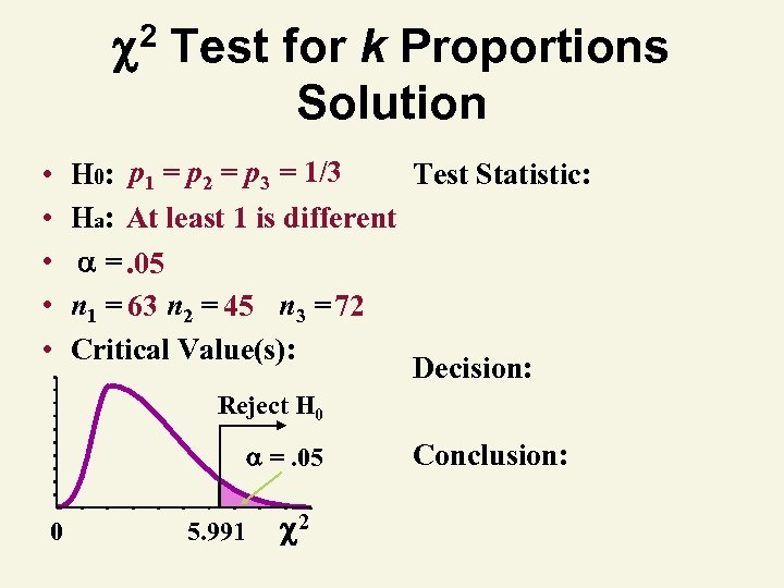 2 • • • Test for k Proportions Solution H 0: p 1 =