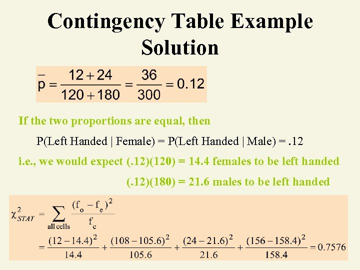 Contingency Table Example Solution If the two proportions are equal, then P(Left Handed |