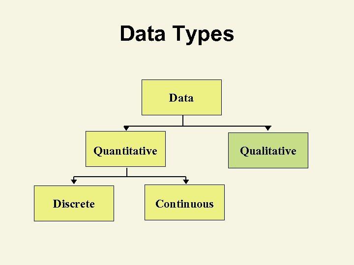 Data Types Data Quantitative Discrete Continuous Qualitative