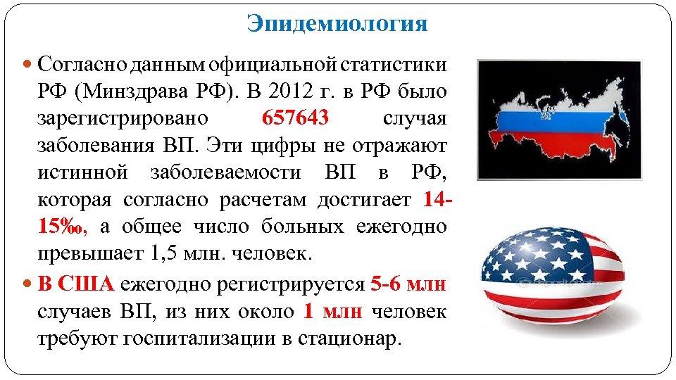 Эпидемиология Согласно данным официальной статистики РФ (Минздрава РФ). В 2012 г. в РФ было