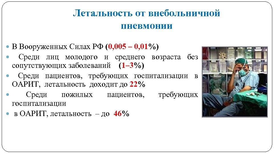 Летальность от внебольничной пневмонии В Вооруженных Силах РФ (0, 005 – 0, 01%) Среди