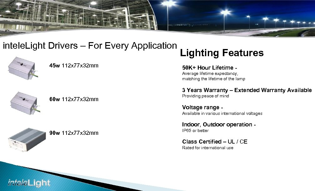 intele. Light Drivers – For Every Application 45 w 112 x 77 x 32