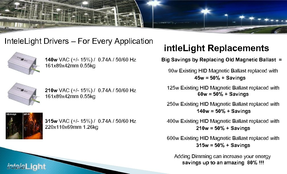 Intele. Light Drivers – For Every Application intle. Light Replacements 140 w VAC (+/-