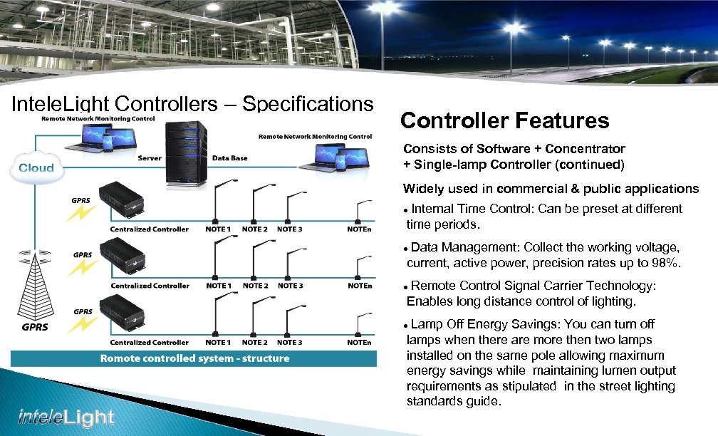 Intele. Light Controllers – Specifications Controller Features Consists of Software + Concentrator + Single-lamp