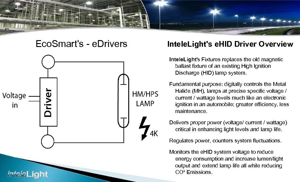Eco. Smart's - e. Drivers Intele. Light's e. HID Driver Overview Intele. Light's Fixtures