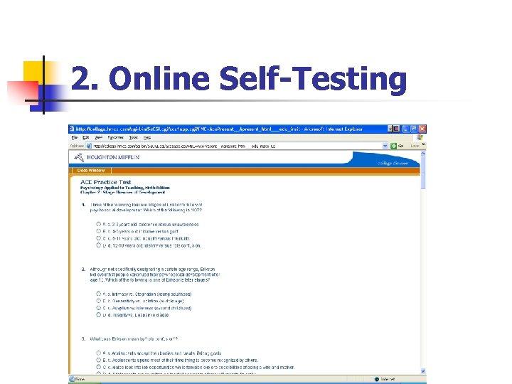 2. Online Self-Testing