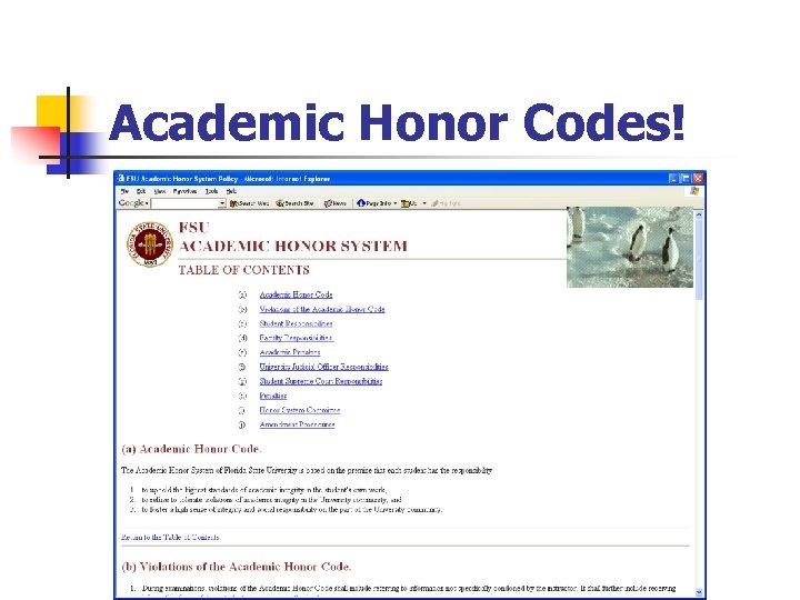 Academic Honor Codes!