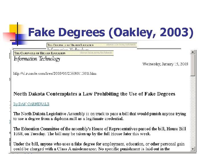 Fake Degrees (Oakley, 2003)