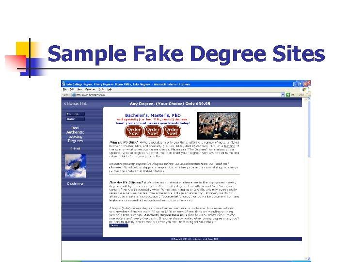 Sample Fake Degree Sites