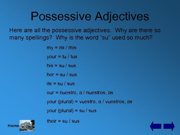 Possessive Adjectives Here all the possessive adjectives. Why are there so many spellings? Why