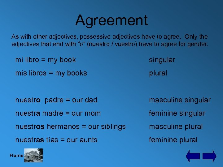 Agreement As with other adjectives, possessive adjectives have to agree. Only the adjectives that