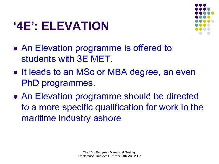 ' 4 E': ELEVATION l l l An Elevation programme is offered to students