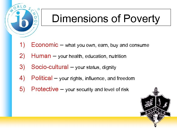 Dimensions of Poverty 1) Economic – what you own, earn, buy and consume 2)