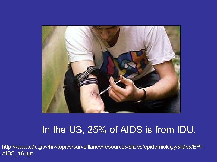 In the US, 25% of AIDS is from IDU. http: //www. cdc. gov/hiv/topics/surveillance/resources/slides/epidemiology/slides/EPIAIDS_16. ppt