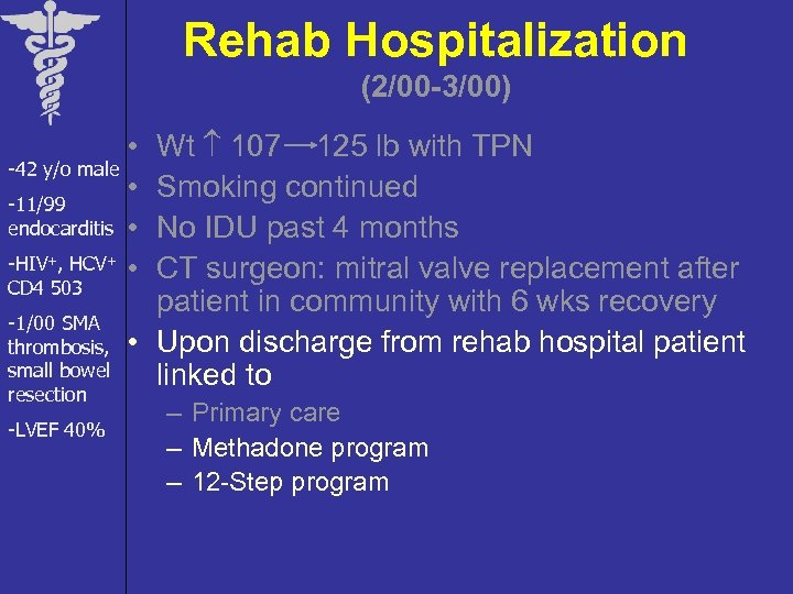 Rehab Hospitalization (2/00 -3/00) Wt 107 125 lb with TPN Smoking continued No IDU