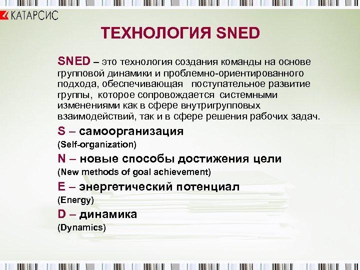 ТЕХНОЛОГИЯ SNED – это технология создания команды на основе групповой динамики и проблемно-ориентированного подхода,