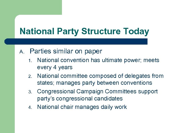 National Party Structure Today A. Parties similar on paper 1. 2. 3. 4. National