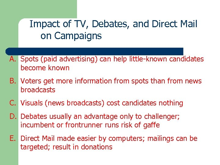 Impact of TV, Debates, and Direct Mail on Campaigns A. Spots (paid advertising) can
