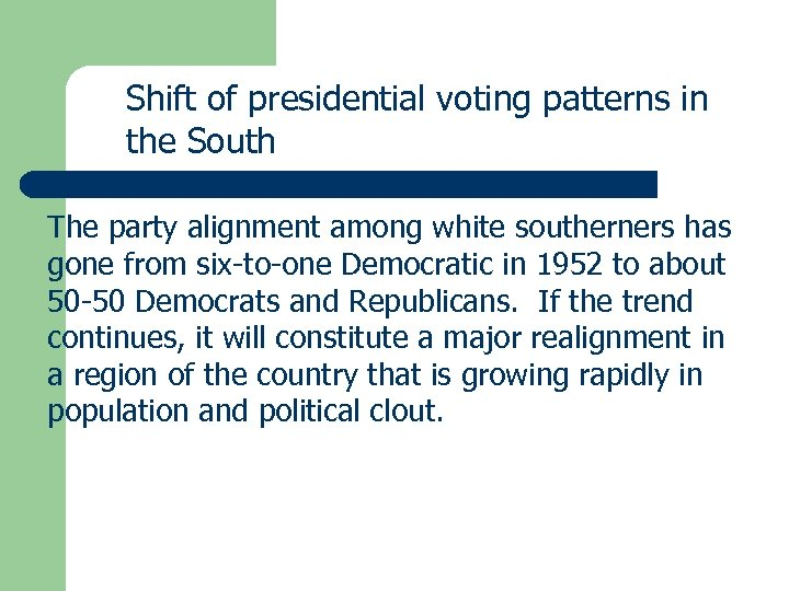 Shift of presidential voting patterns in the South The party alignment among white southerners