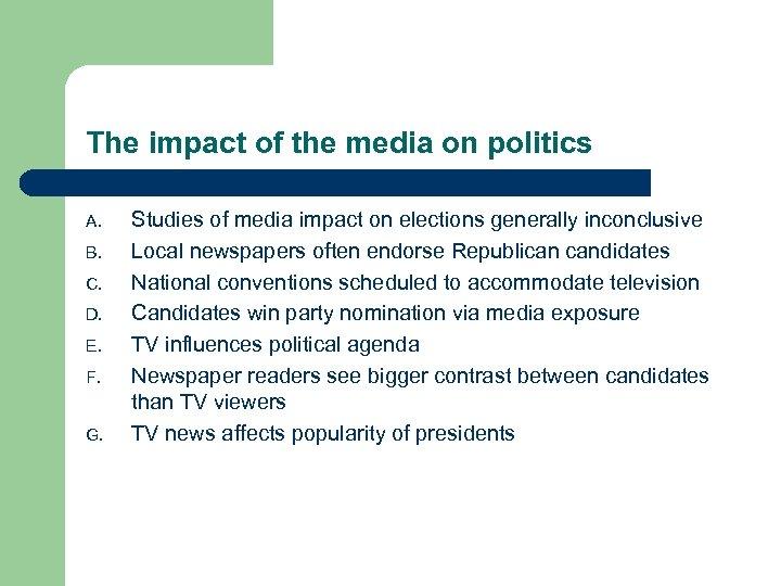 The impact of the media on politics A. B. C. D. E. F. G.
